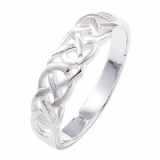Sterling silver woven celtic knot band ring